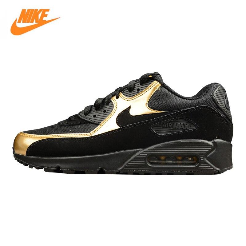 NIKE AIR MAX 90 ESSENTIAL Для мужчин кроссовки, открытый кроссовки обувь, Черное золото, нескользящая подошва дышащих 537384 058
