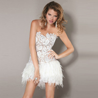 Vestidos De Festa 2014 Sexy Lace And Feathers Short Cocktal Party Dresses Short White Sweetheart Neck