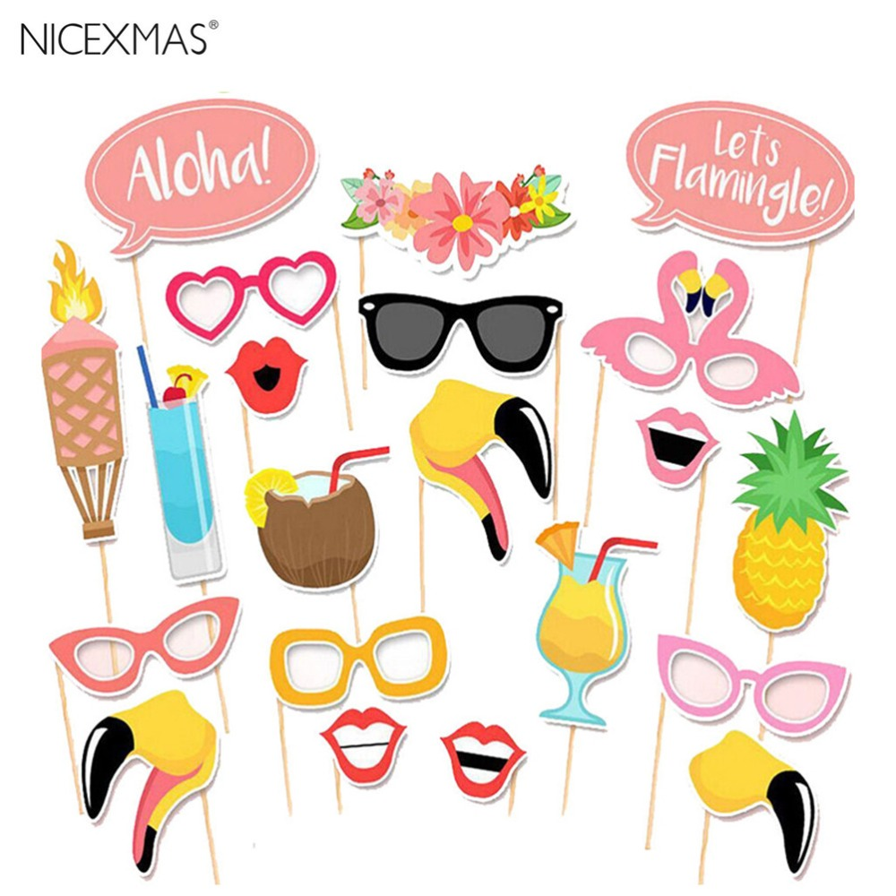 Flamingo Hawaii Themed Summer Party Photo Booth Props Kit DIY Luau ...