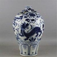 6 Antyczne MingDynasty porcelanowy wazon, Niebieski i biały jednorożec butelki ozdoby, ręcznie malowane rzemiosła, Dekoracji, Kolekcja i ozdoby