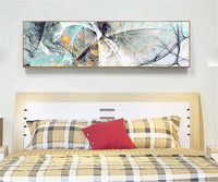 YongHe Decorative Canvas Euro Printings Abstract Free lines Single Long Banner Oil Paintings Art Works For Deco Living Room