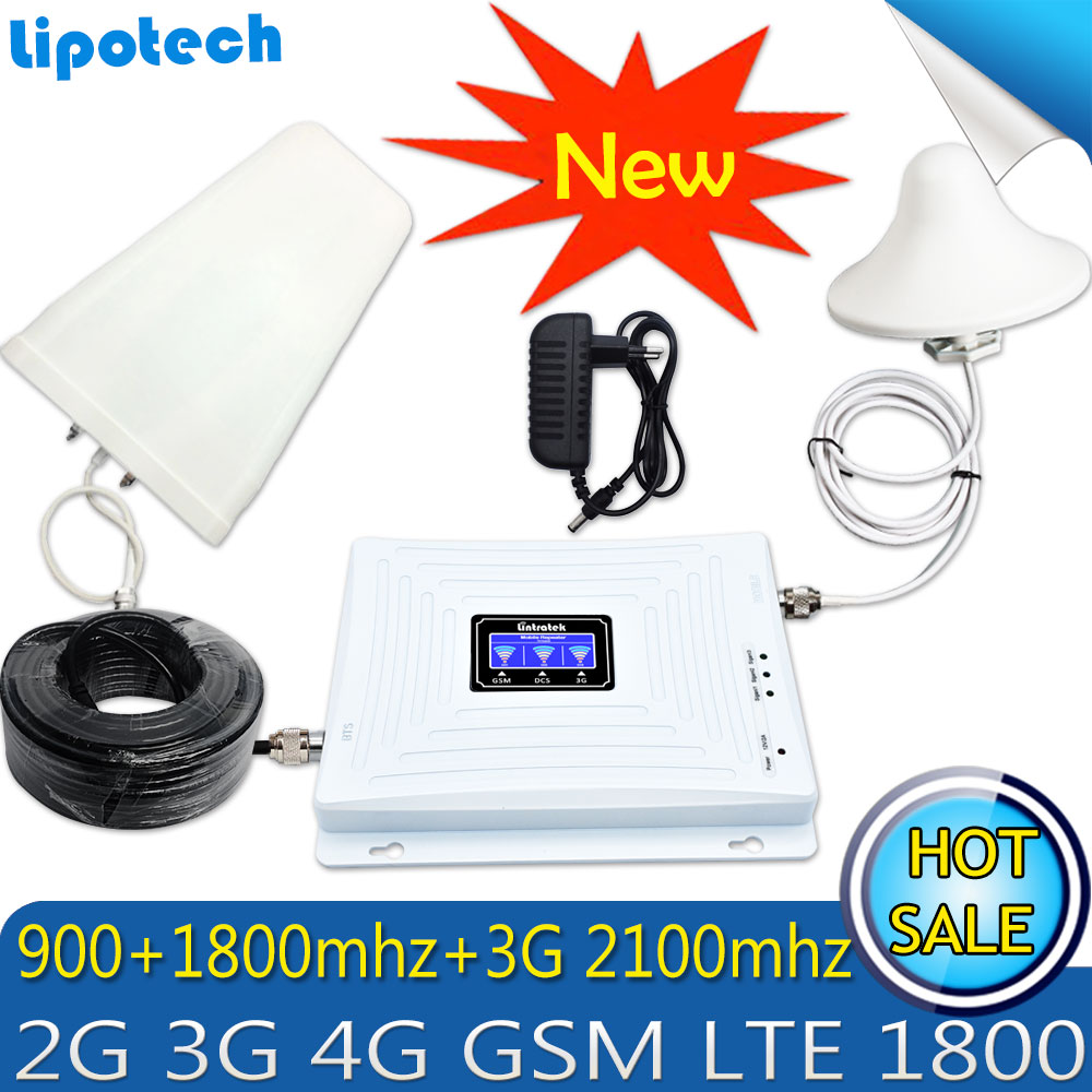 Lintratek Tri Band Amplifier 900 1800 2100 GSM DCS WCDMA 2G 3G 4G LTE Signal Booster 900/1800/2100 Cellphone Cellular Repeater