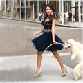 Short Navy Blue Lace Homecoming Dresses 2016 Sexy Knee Length Tulle Crystal 8th Grade Prom Graduation Cocktail Dresses For Girls