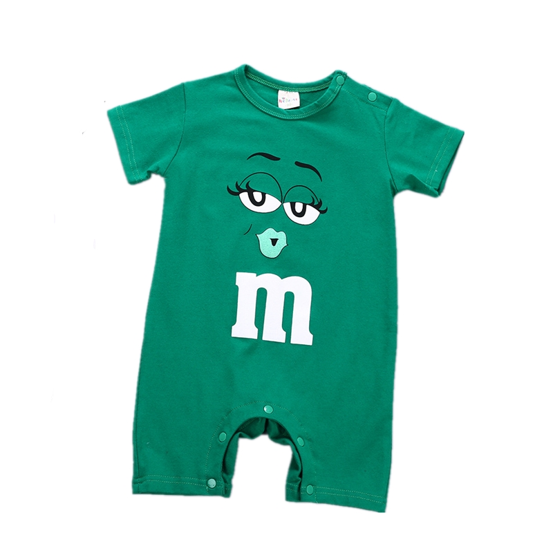 Infant Baby Onesie Outfits Cute Printed Funny Face MM Novelty   Romper   Green Short Sleeve Jumpsuit Unisex Newborn Toddler Playsuit
