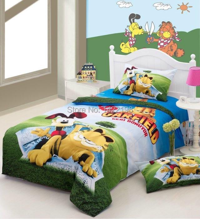 Garfield Bedding Set Girls Twin Full Size Bedding Kids Bedding Set Boys 100 Cotton 3d Cartoon Duvet Cover Bed Sheets Sheet Glass Bed Sheets Purplebed Sheet Design Aliexpress