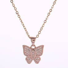 jewellery insect Copper Butterfly Charms Necklaces & Pendants Cubic Zirconia Silver/Gold Color Chain For Women Jewelry Gift