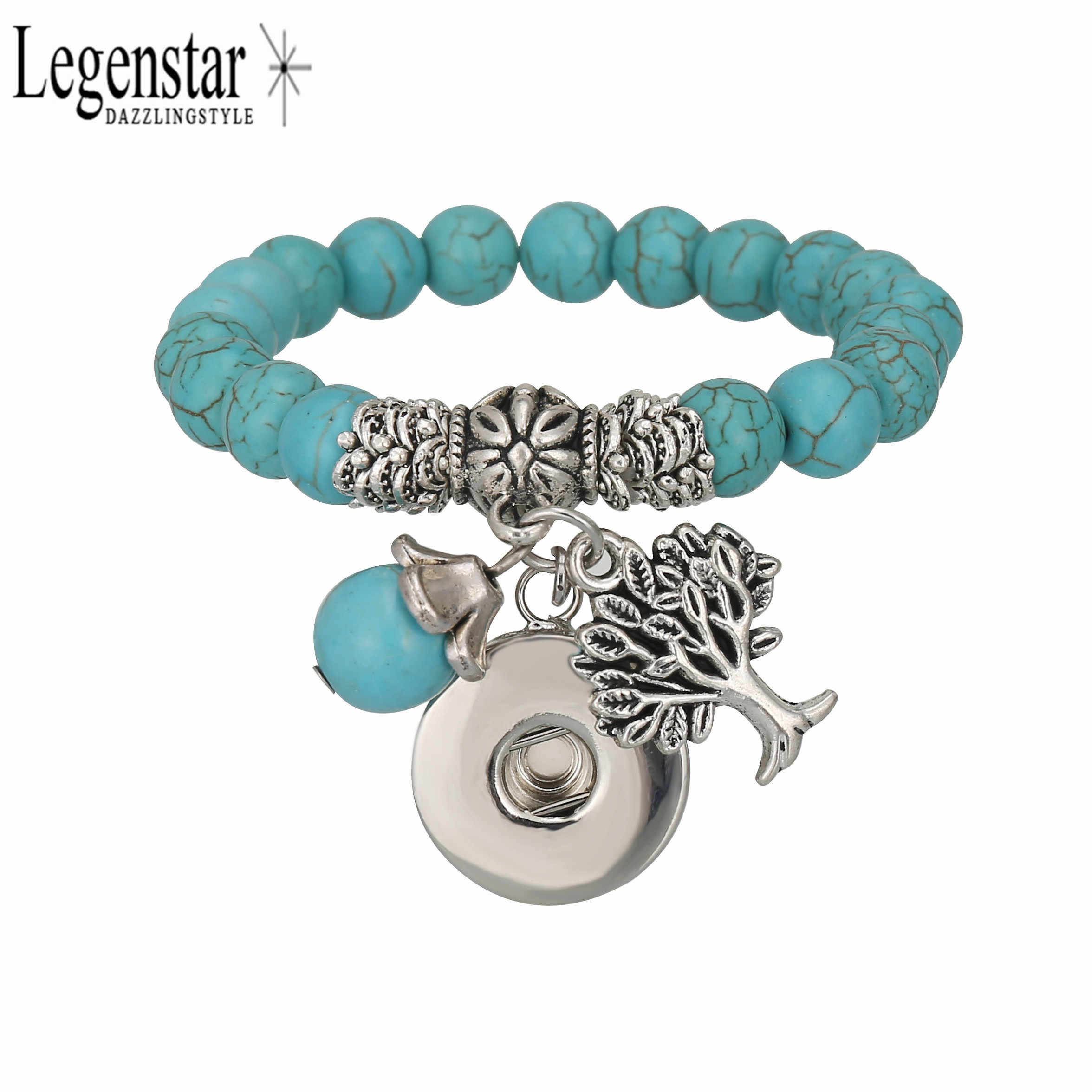 Legenstar 18mm Snap Beaded Bracelet azul piedras de color natural Charm Bracelet Life Tree Pendant joyería intercambiable para mujer
