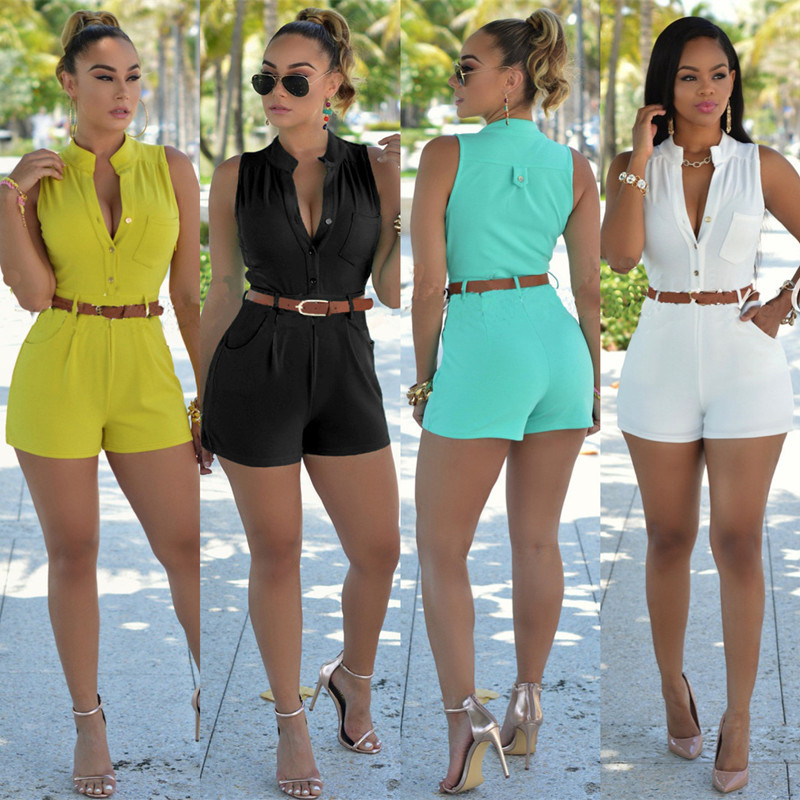 6 colors plus size S-XXL bodycon rompers with belt 2016 summer dashiki womens jumpsuit sleeveless bodysuit black white