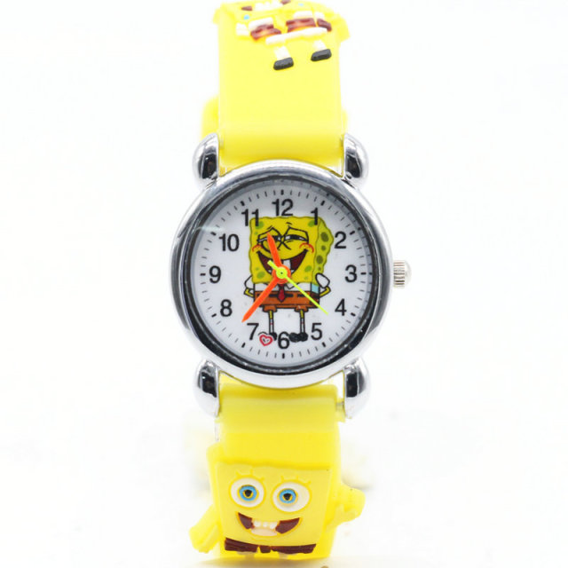 1pcs New Arrival 3D Cartoon Silicone Band Chilidren's watches SpongeBob Watch