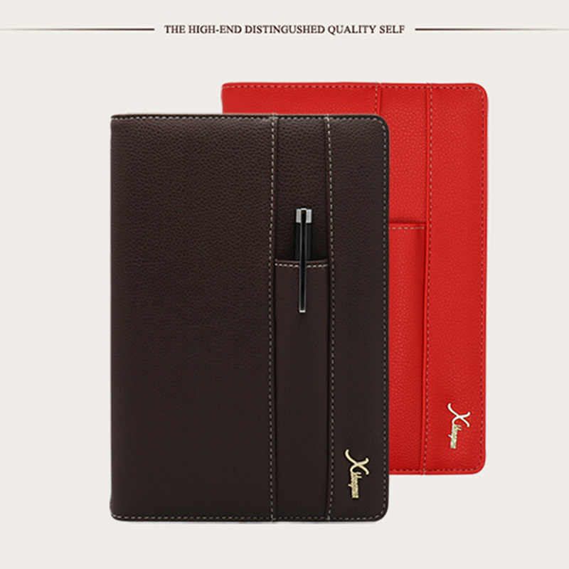 Vintage Logo Name Custom Leather A5 Notebook A6 Mini Writing Pads Business Notebooks Office Planner Binder Red Diary Book Gift