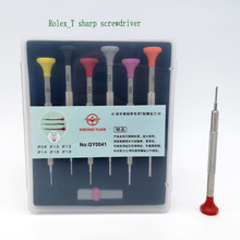 Free Shipping Stainless Steel T Blade Screwdriver Set of 6 with Spare Blades for Watch Repair
