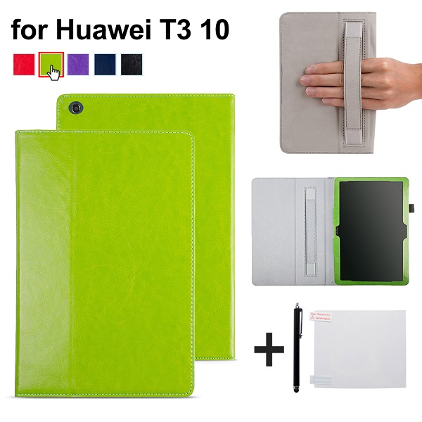 Protective PU Leather case cover with hand strap for Huawei MediaPad T3 9.6 AGS-W09/AGS-L09 for 10 Tablet +free gift for huawei mediapad t3 7 0 wifi case soft silicone case cover for huawei mediapad t3 7 0 bg2 w09 7 inch tablet pc gifts