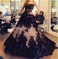 Romántica de la Alta Calidad Fuera del Hombro Negro de Encaje Con Aplicaciones Piso longitud de Una línea de Vestido de Novia de Encaje Vestido de Novia Vestidos De Novia
