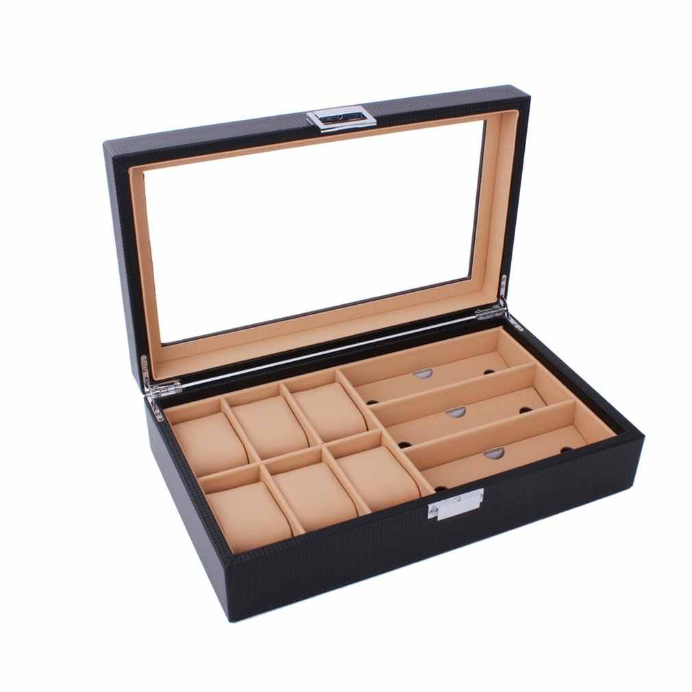 6/8 Grids PU Leather/Carbon Fiber Watch Box Sunglasses Organizer Jewelry Collection Glasses Storage Display Holder Portable Case