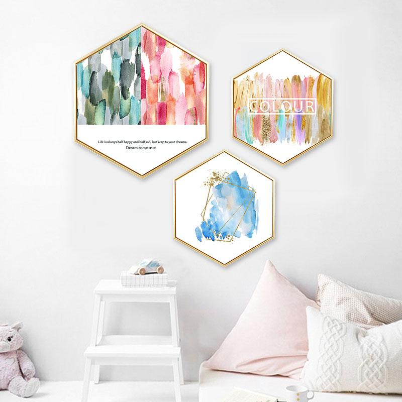 Creative hexagonal pink abstract decorative painting Watercolor blot Nordic minimalist bedroom restaurant wall framed