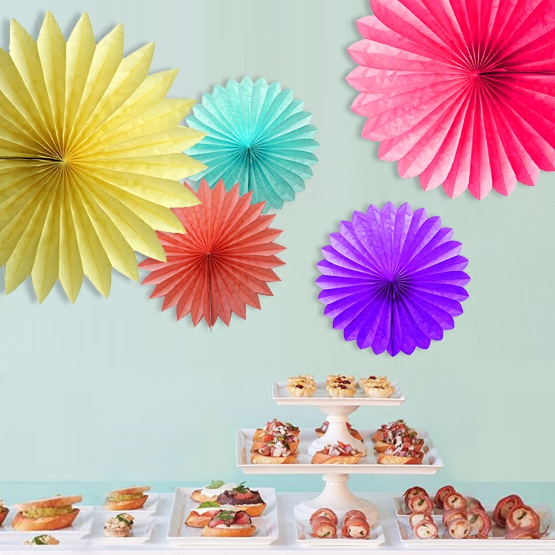 Decorative Wedding Paper Crafts 15/20/25/30CM 1PCS Flower Origami Paper Fan DIY Wedding...