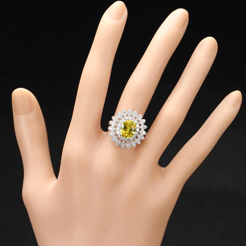 CWWZircons คุณภาพสูง Micro รอบ Cubic Zirconia การตั้งค่าหินหรูหราผู้หญิงหมั้นแหวนคริสตัลสีเหลือง R021
