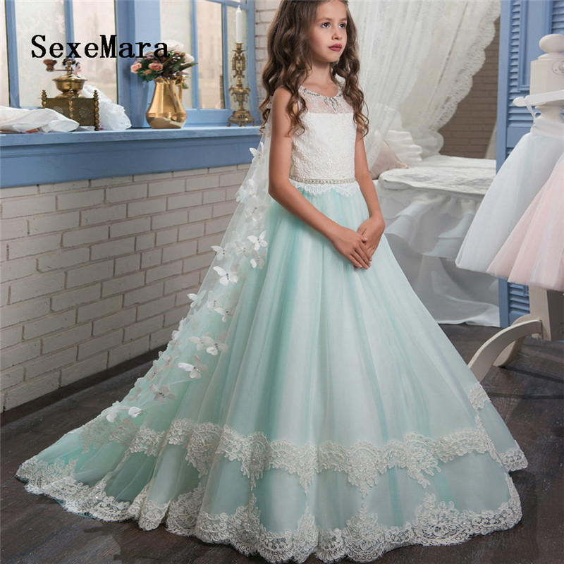 Beautiful White   Flower     Girls     Dresses   Beaded Lace Butterflies Pageant Gowns for Kids Wedding Party with Cape Custom Made Size