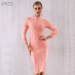 Adyce Sexy Spring Bodycon Bandage Dress Women Vestidos Verano 2019 New Long Sleeve O Neck Pink Club Dress Celebrity Party Dress