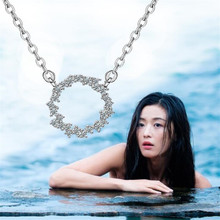 New Beautiful Exquisite 925 Sterling Silver Fashion Jewelry Circle Crystal Blue Sea Legend Personali
