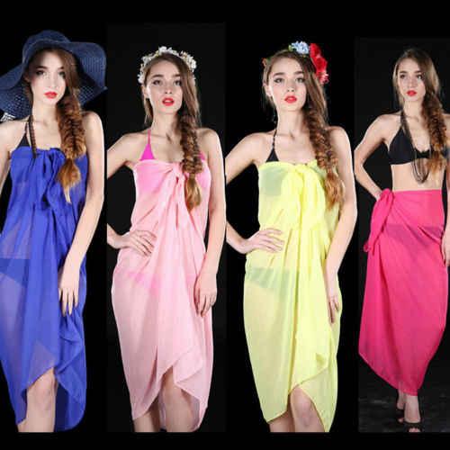 4a8eb4a59fc2d ... 2018 New 100X150CM Pareo Scarf Women Chiffon Wrap Dress Sarong Summer  Sunscreen Beach Bikini Swimwear Shawl ...