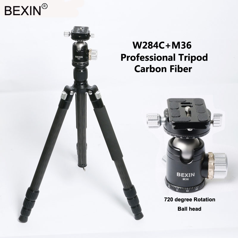 Bexin 4 Sections Carbon Fiber Portable Travel Monopod Tripod Stand Professional Camera Tripod for SLR Video Camera benro c38tds2 carbon fiber tripod kit bird watching monopod kit professional video camera slr tripod stable support for canon