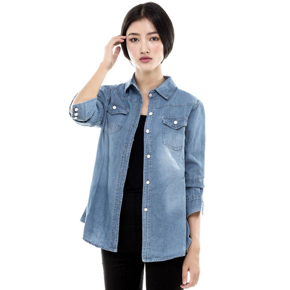 venta caliente del estilo europeo mujeres blusas jeans slim jeans shirt de seora elegante calidad de