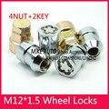 4 Tuerca M12x1.5 Chrome Wheel Locks TUERCAS + 2 TECLAS Anti-sheft Seguridad set Sistema De Ruedas/Llantas de Ford KIA Mazda