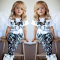 Hot Selling Baby Girls Summer Clothes Sets Letter Casual Cotton Tops Shirt + Printing Causal Pants 2PCS Summer Short Sleeve Sets