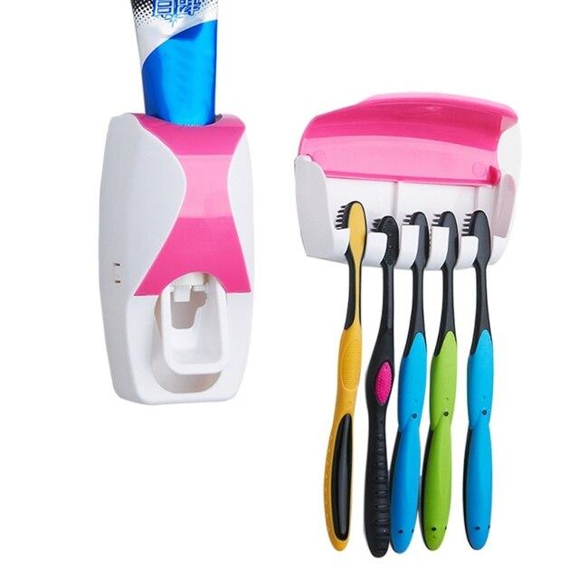 Герметичное хранилище для дома Автоматический Диспенсер зубной пасты, для зубной щетки держатель Ванная комната Продукты настенный держат...