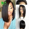 7a short human hair bob wigs for black women lace front bob wigs with bangs silk straight glueless bob full lace human hair wigs