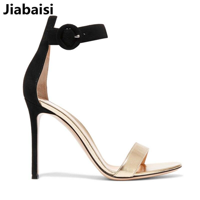 Jiabaisi schoenen vrouwen sandalen Effen Enkele band zomer schoenen Cover gesp Grote maten Classics merk office lady schoenen