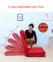 High quality extended backrest lazy sofa folding sofa bed Japanese tatami backrest chair 5 steps adjustable Linen fabric seat
