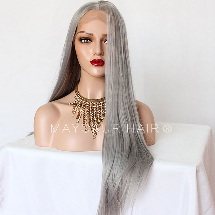 _0009_Maycaur 180 Density Gray Color Natural Straight Synthetic Lace Front Wigs for Women Glueless Natural Baby Hair (4)