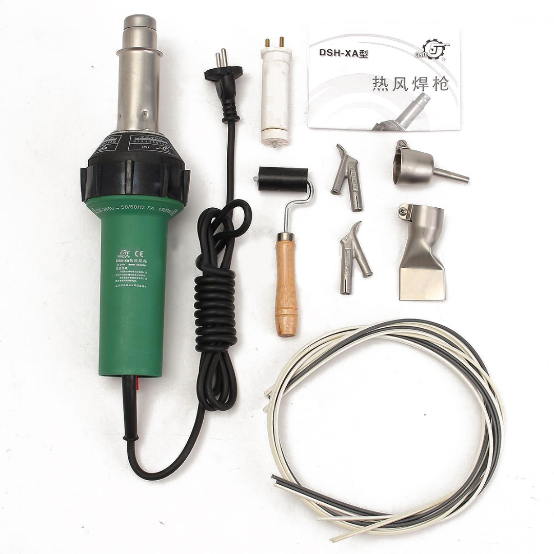 где купить  1pc Hot Air Torch Plastic Welder 220V 1500W Welding Tool Kit + Spare Heating Lement + 4pcs Nozzles with Pressure Silicon Roller  по лучшей цене