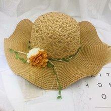 Summer Fashion Straw Cap For women Wavy flower twig braided hat Unisex Beach Casual Sun Caps