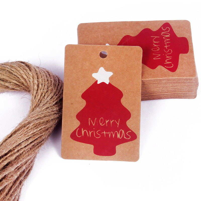 Merry Christmas Gift 100PCs Cards Kraft Paper Marker Tags New years Gifts christmas decorations for home