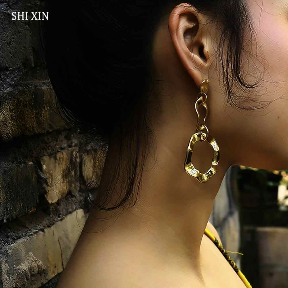 SHIXIN Punk Layered Long Twisted Round Geometric Drop Earrings Hanging Pendant for Women Fashion Modern Jewelry Female Oorbellen