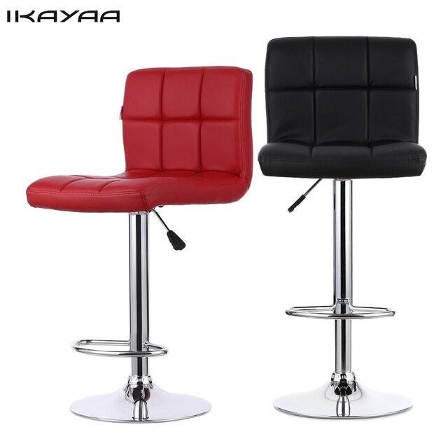 Ikayaa 2pcs Set Red Black Pu Leather Swivel Bar Chairs Height Adjule Pneumatic Heavy
