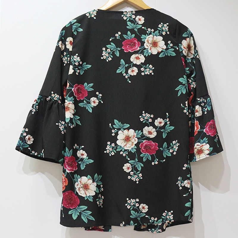 נשים סתיו קיץ חולצה בציר פרחוני הדפסת Boho קימונו קרדיגן מקרית אבוקה שרוול חולצה גבירותיי Loose חולצות תחתונית Femme
