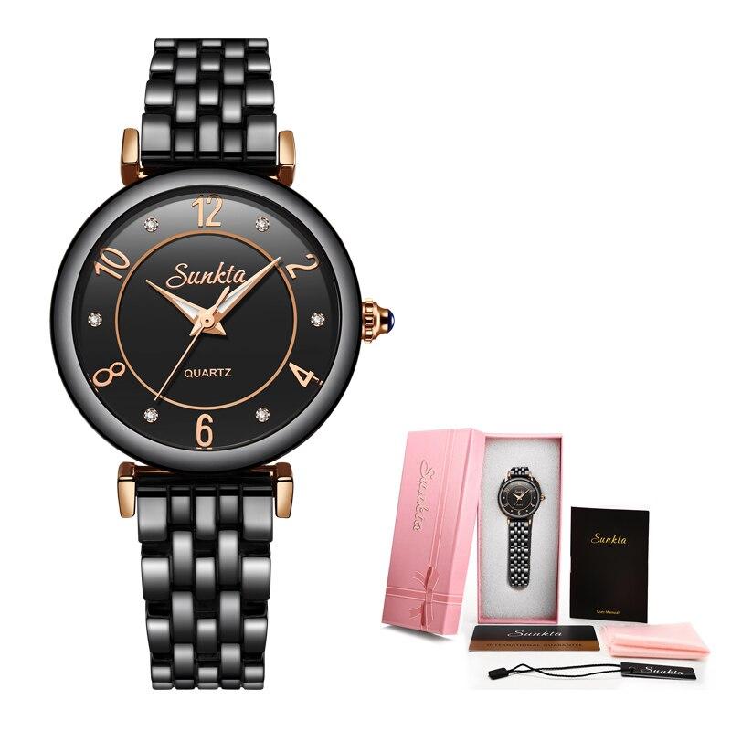 SUNKTA Full Black Ceramic Diamond Watch Women Rose Gold Waterproof Women Watches Top Brand Luxury Quartz Clock Relogio Feminino in Women 39 s Watches from Watches