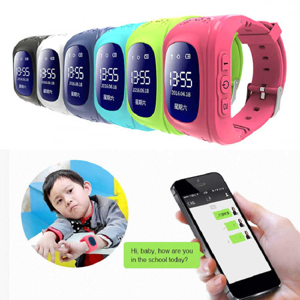 OLED children smart watches Q50 GPS tracker SOS Anti loss of positioning monitoring phone children GPS Russian English