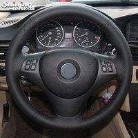 Shining wheat Black Artificial Leather Car Steering Wheel Cover for BMW E90 325i 330i 335i E87 120i 130i 120d