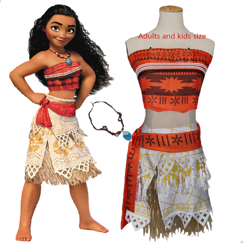 Anime Moana Cosplay Costumes Halloween Princess Moana  Cosplay Dress for Adult Women and Kids including necklace