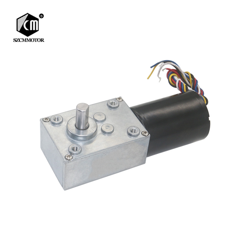 High-Power low noise 12v 24v brushless dc worm gear motor Long Life Silent Slow Speed High Torque Electric Worm Geared Motor gw4468 12v 80rpm 24v 160 200rpm low speed high torque worm geared reduction electric dc motor industry machine application robot