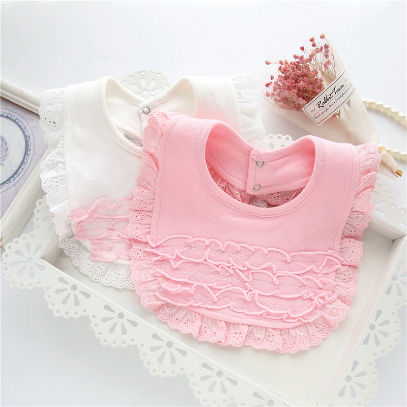 Ideacherry Baby Bibs Burp 100% Cotton Lace Bow Pink and White Bandana Bib Baby Girl Love ...