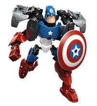 2018 NEW 6pcs/lot Super Hero Factory Iron Man Hulk Batman Captain America robot building blocks kids DIY bricks toys 6001
