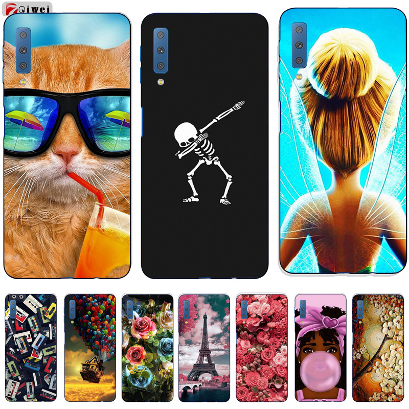 For Samsung Galaxy A7 2018 Case A750F Case Cover Flower Print Soft TPU Silicone Capas For Samsung A7 2018 Case Coque A7 7A 2018