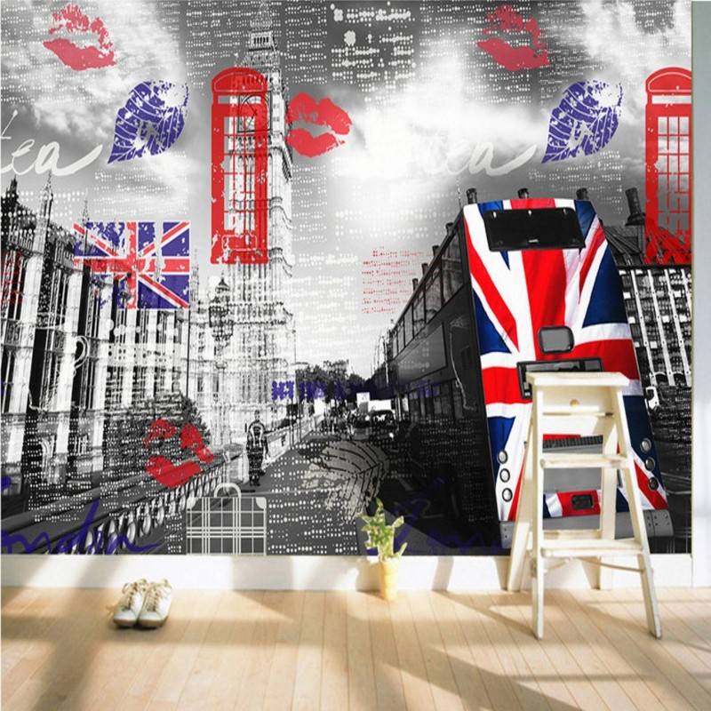 Custom photo wallpaper London street scenery nostalgic background wall mural living room restaurant corridor wallpaper custom photo wallpaper large mural retro old newspaper english letter bar hot pot restaurant background wall wallpaper mural