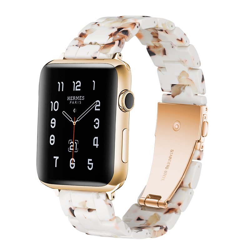 New Resin Apple Watch Band Accessories 20/22/38/40/42/44mm Immitation Ceramic Flat Mouth Pin Buckle Watch Straps Belts Bracelet